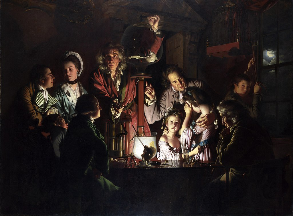 A painting of an 18th century scientific experiment