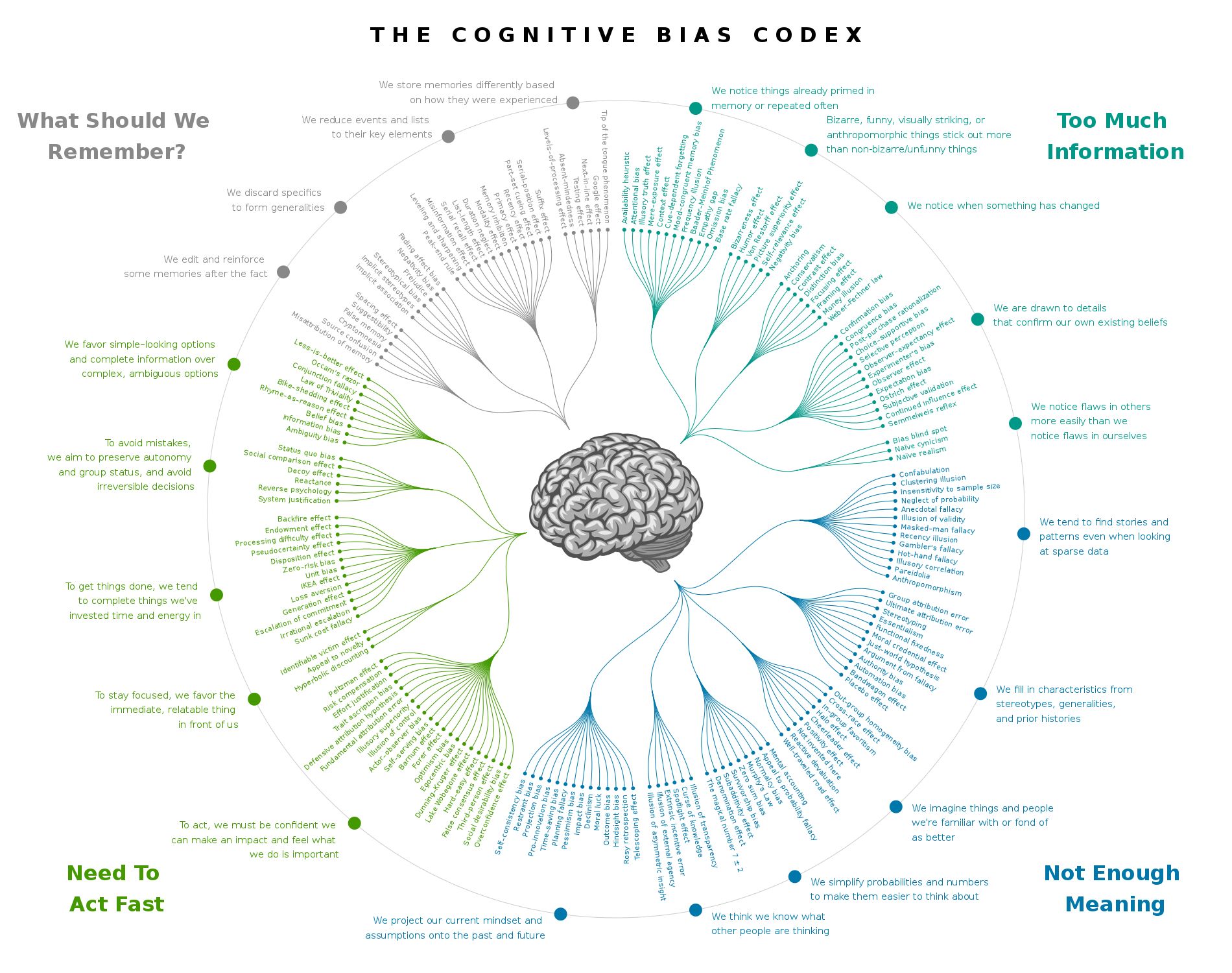 A radial diagram showing a categorised list of cognitive biases.